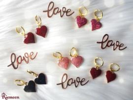Shining glitter hart goud (rood)