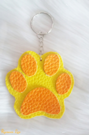 Neon geel hondenpoot sleutelhanger