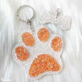 Oranje met wit sleutelhanger setje
