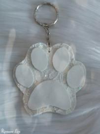 Wedding white hondenpoot sleutelhanger