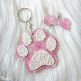 Paw pink print sleutelhanger setje