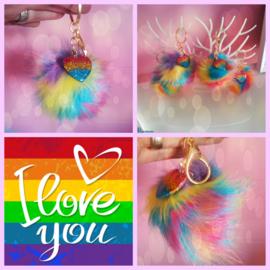 I Love You Rainbow Sleutelhanger