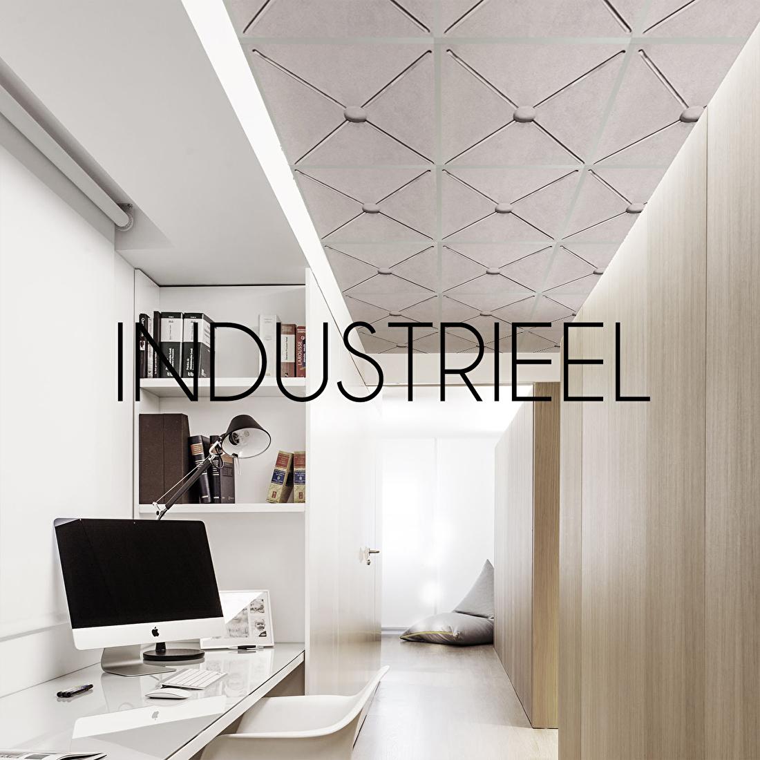 systeemplafond plafondplaat print industrieel beton
