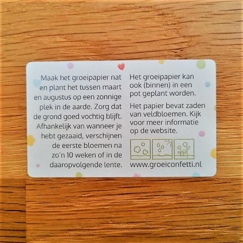 Sticker | groeipapier met zaden van veldbloemen