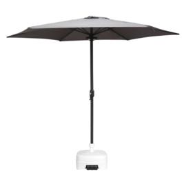 Parasol Ø 300CM + Voet 50L Plastic  Wit + LED Verlichting