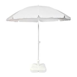 Parasol Ø 200CM Wit + Voet 10L Plastic