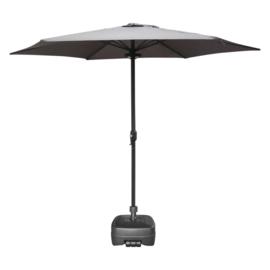 Parasol Ø 300CM +Voet 50L Plastic Antraciet + LED Verlichting + Beschermhoes Parasol