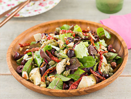 Baby leaf salade met artisjokharten en limoendressing