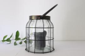 Luxe glazen windlicht met staal