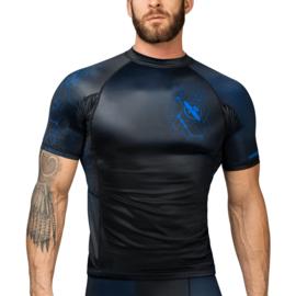 Hayabusa Geo Short Sleeve Rashguard - Zwart, Blauw
