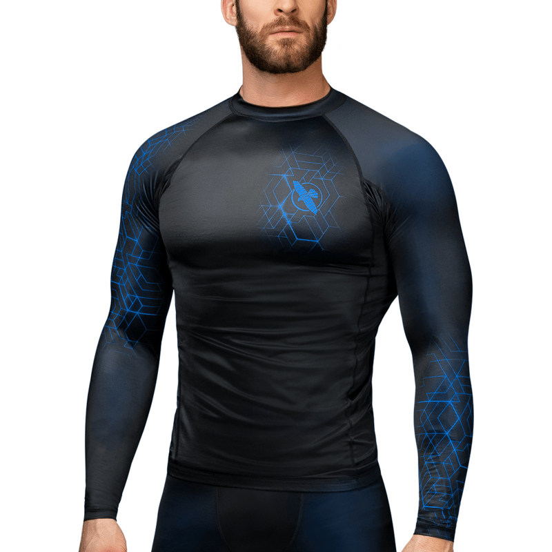 Hayabusa Geo Long Sleeve Rashguard - Black, Blue