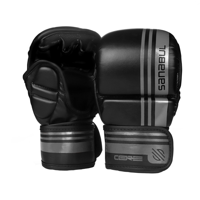 Sanabul Core Series Hybrid Gloves - 7 oz - black and metal