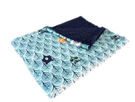 Cotton Blanket warm - Foxes blue