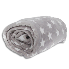 Plush cover - white stars on grey background