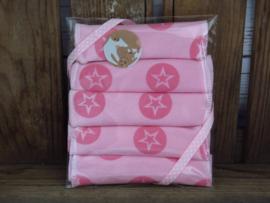 Billendoekjes roze ster