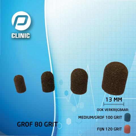 Slijpkapje / Schuurkapjes Rond 13 mm Kunststof Bruin 80 Grit ( Grof )