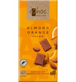 iCHOC : Melk Chocolade Sinaasappel Amandel 80gr - Vegan - Biologisch - Plasticvrij