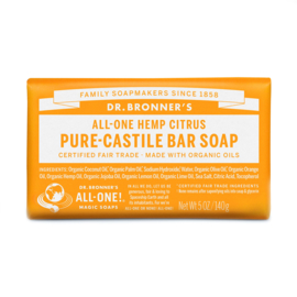 Dr. Bronner's Citrus-Orange Organic Fair Trade Plastic Free Soapbar 140g