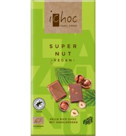 iCHOC : Melk Chocolade Super Nut Hazelnoot 80gr - Vegan - Biologisch - Plasticvrij