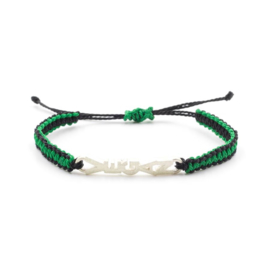 Evig Grön Vegan Tree Bracelet Black/Green And Recycled Silver