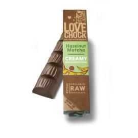 Lovechock : Hazelnut & Matcha Creamy Bar 40 gr. Raw Organic Vegan Chocolate Plastic Free