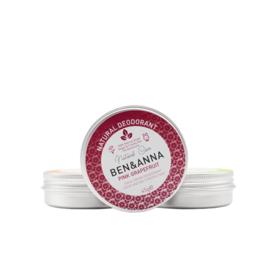 Ben & Anna : Deodorant Crème in blikje Pink Grapefruit 45 gram - Biologisch - Vegan - Plasticvrij