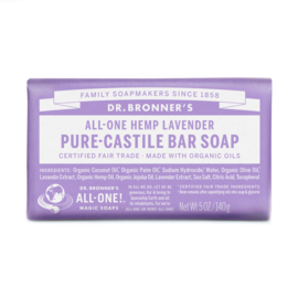 Dr. Bronner's Lavender Organic Fair Trade Plastic Free Soapbar 140g