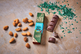 Lovechock : Almond & Spirulina 20% Protein Bar 40 gr. Raw Organic Vegan Chocolate Plastic Free