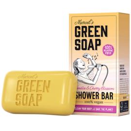 Marcel's Green Soap : Shower Bar Vanille & Kersenbloesem 150g - Plasticvrij - Vegan - Biologisch Afbreekbaar