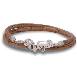 Evig Grön Vegan Cork And Recycled Silver Light Brown Bracelet