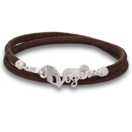 Evig Grön Vegan Cork And Recycled Silver Brown Bracelet
