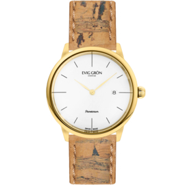 Evig Grön Swiss Made duurzaam vegan horloge Planetarium Gold Day