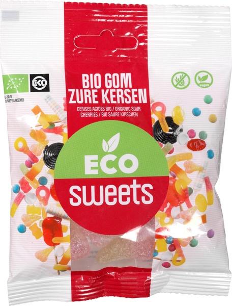Eco Sweets : Gom Zure Kersen 75gr - Vegan - Biologisch - Plasticvrij
