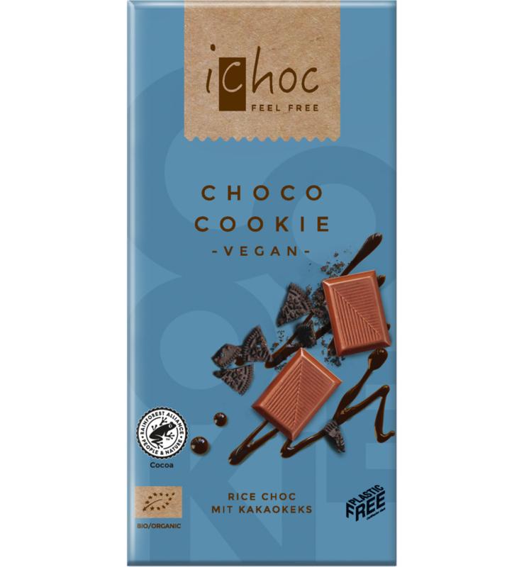 iCHOC : Melk Chocolade Cookie 80gr - Vegan - Biologisch - Plasticvrij