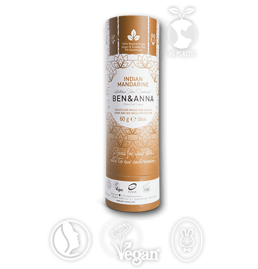 Ben & Anna : Deodorant Indian Mandarin 60 Gram - Biologisch - Vegan - Plasticvrij