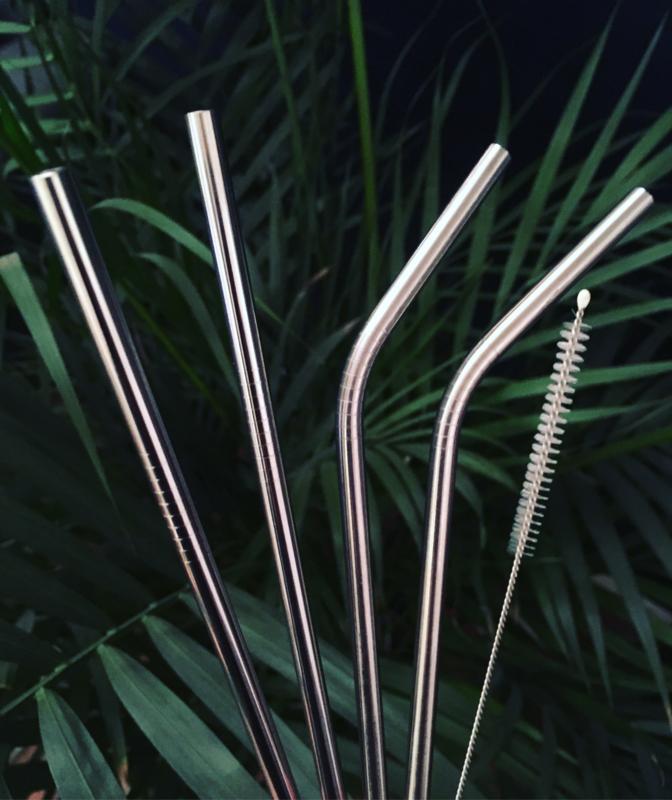 Set van 4 korte RVS rietjes met borsteltje