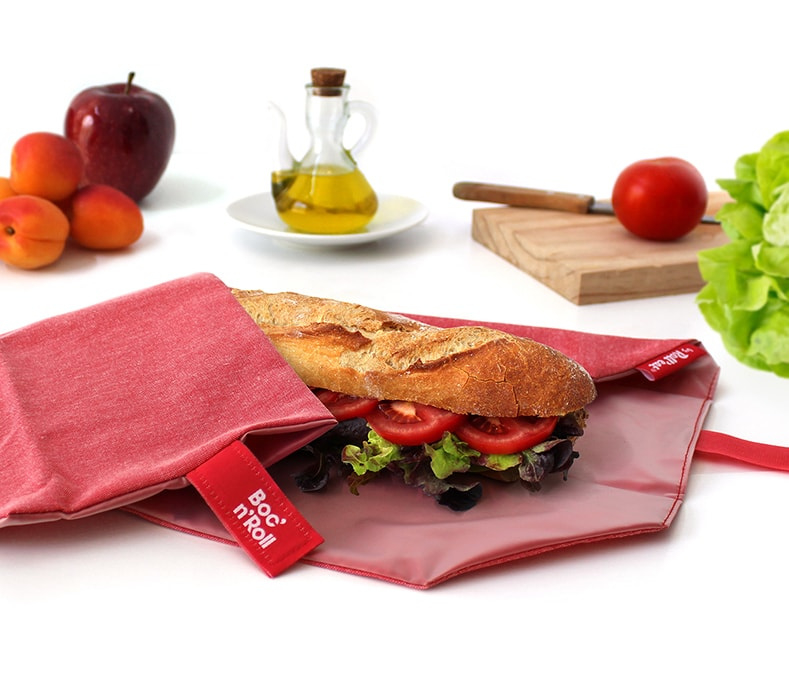 Eco Boc'n'Roll rood herbruikbare lunchverpakking van Roll'eat