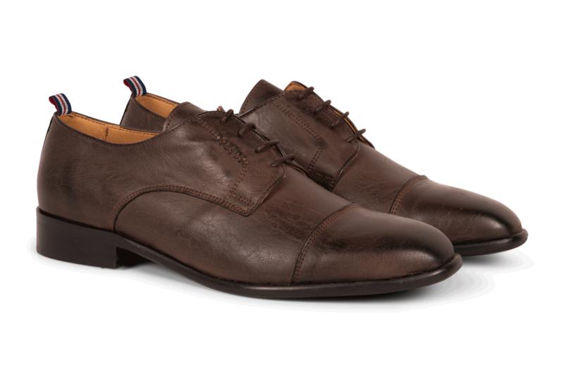 Gentleberg Rob(bert) - Cap Toe Derby Dark Brown Vegan Leather Shoes