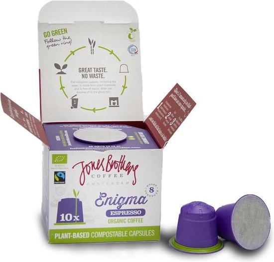 Jones Brothers Coffee : Enigma Espresso 10 Nespresso™ style cups - Biologisch - Fair Trade - Biologisch Afbreekbaar