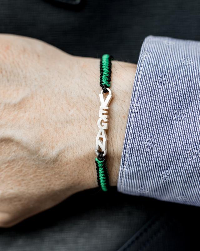 Evig Grön : Vegan Armband Zwart & Groen Met Zilver -  Handgemaakt - Recycle - Duurzaam Katoen - Plant een Boom