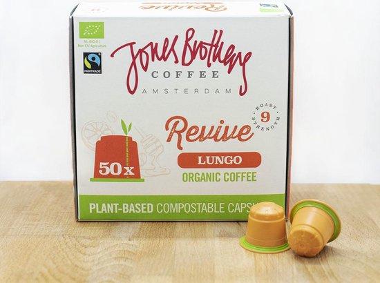 Jones Brothers Coffee : Revive Lungo 50 Nespresso™ style cups - Biologisch - Fair Trade - Biologisch Afbreekbaar