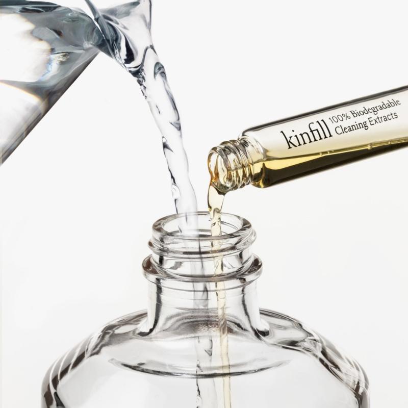 Kinfill Homecare : Floor Cleaner Schoonmaakmiddel Set met 1 glazen fles en 1 elixer 10ml - Biologisch Afbreekbaar  - Eco - Vegan - Hervulbaar