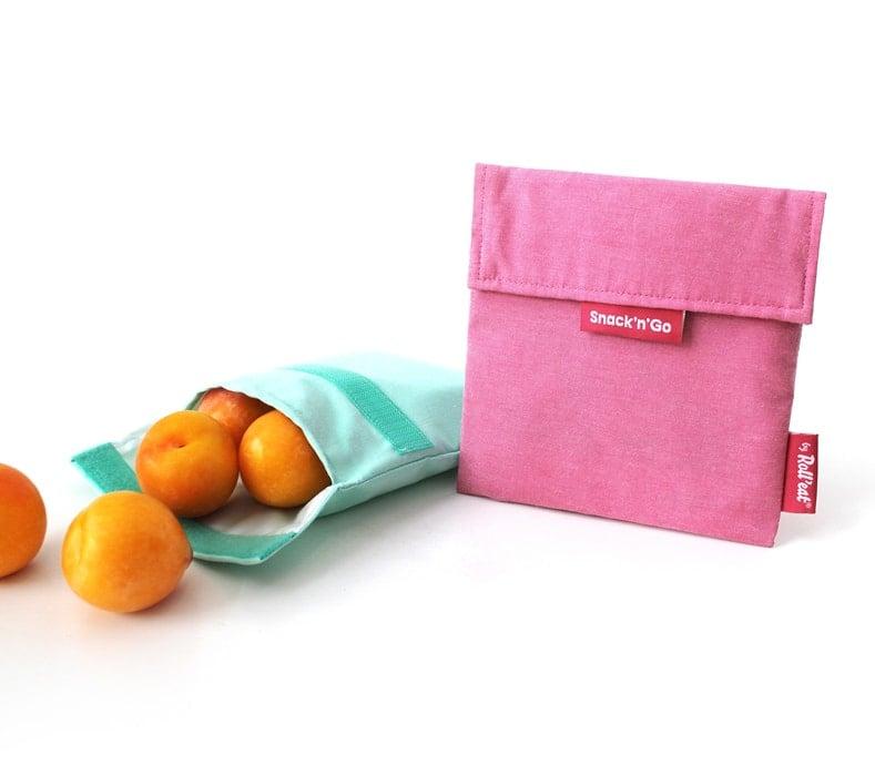 Eco Nature Snack'n'Go roze herbruikbaar boterhamzakje van Roll'eat