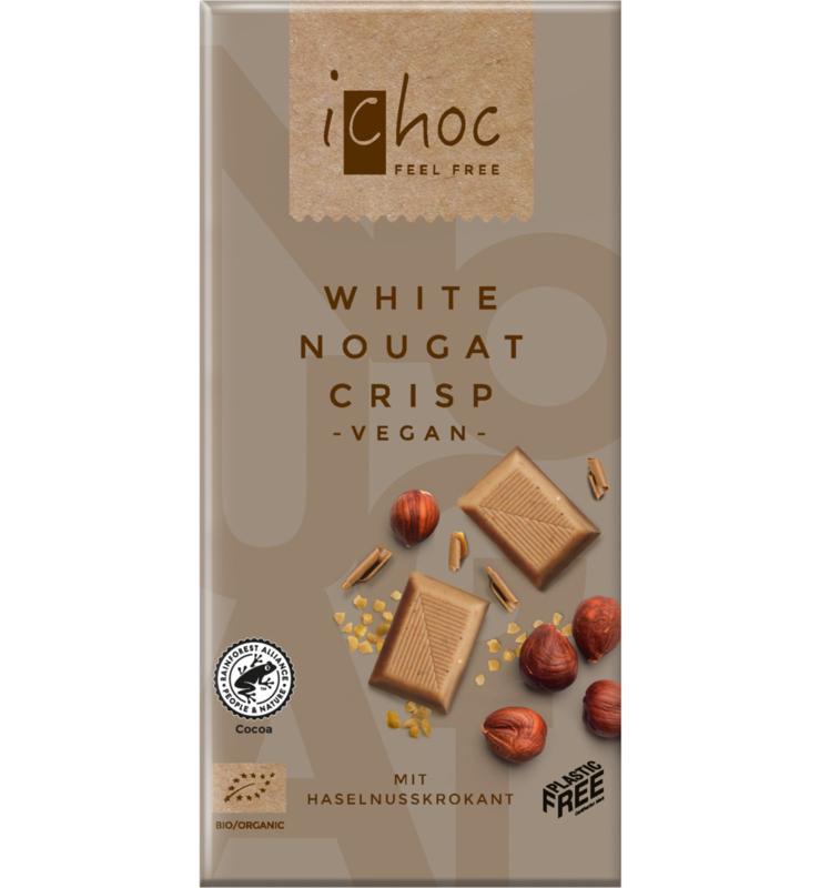 iCHOC : Witte Chocolade Nougat Crisp 80gr - Vegan - Biologisch - Plasticvrij