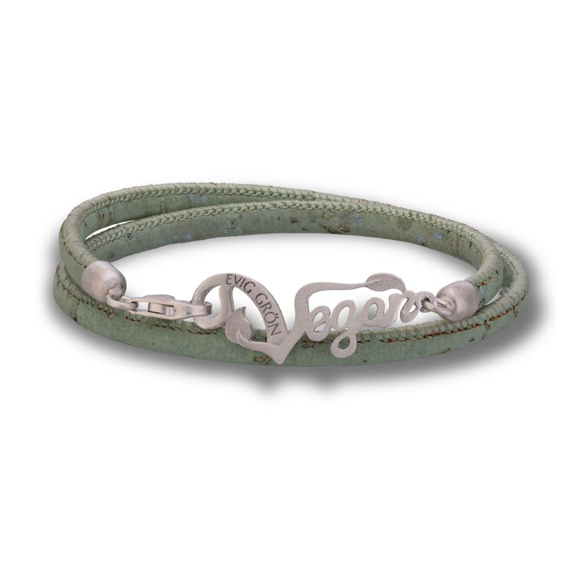 Evig Grön Vegan Cork And Recycled Silver Light Green Bracelet