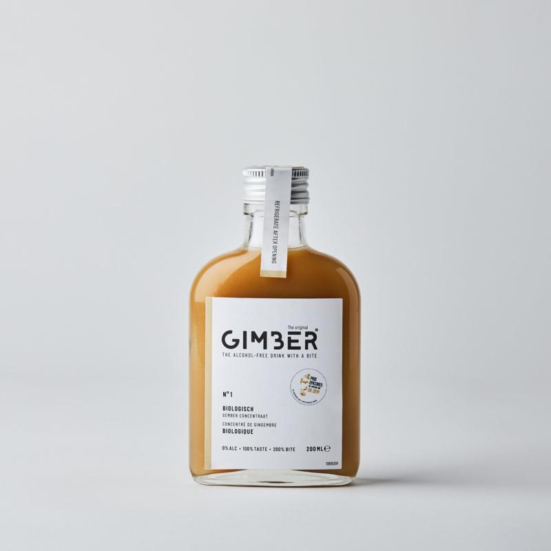 Gimber : Concentraat van biologische gember, citroen, kruiden, rietsuiker en specerijen 200ml - Vegan - Alcohol Vrij - Plastic Vrij