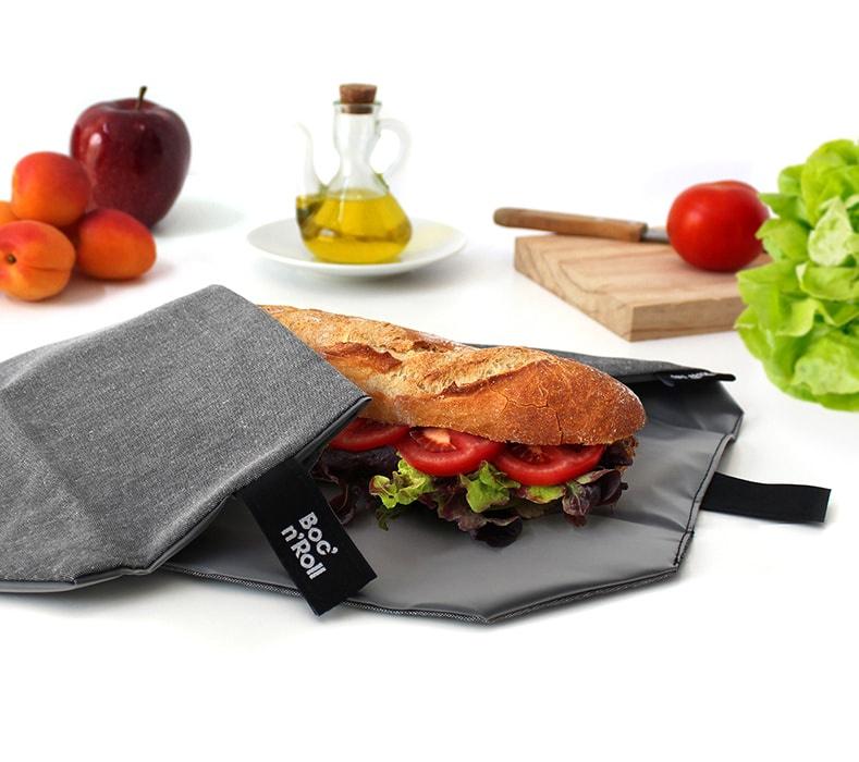 Eco Nature Boc'n'Roll zwart herbruikbare lunchverpakking van Roll'eat
