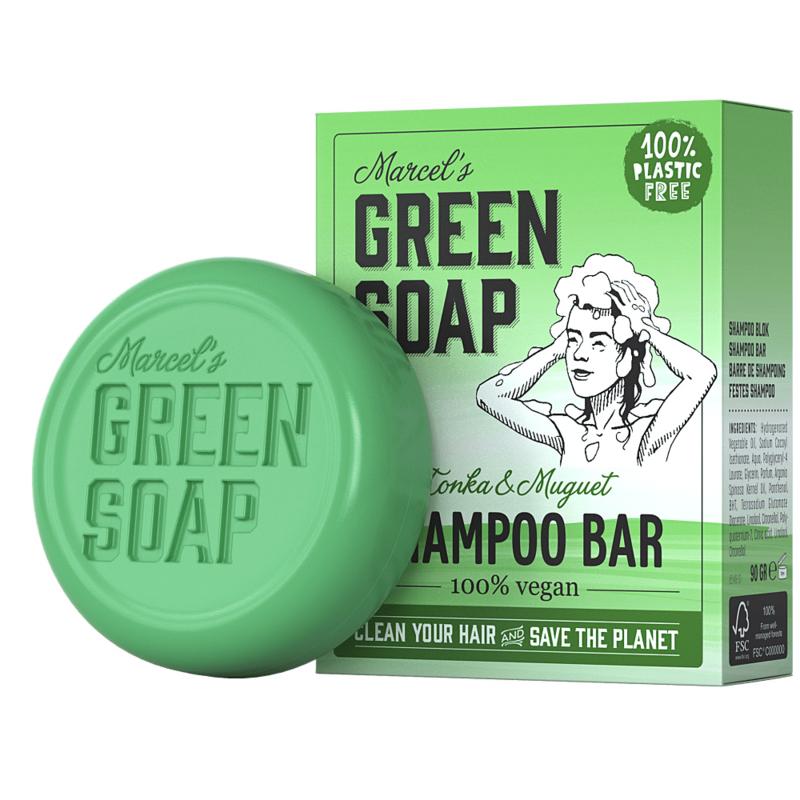 Marcel's Green Soap : Shampoo Bar Tonka & Muguet 90g - Plasticvrij - Vegan - Biologisch Afbreekbaar