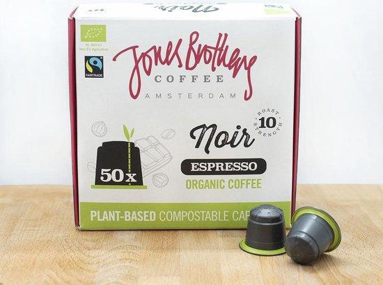 Jones Brothers Coffee : Noir Espresso 50 Nespresso™ style cups - Biologisch - Fair Trade - Biologisch Afbreekbaar