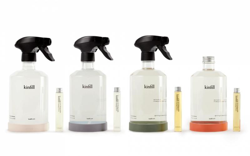 Kinfill Homecare : The Full House Complete Schoonmaakmiddel Set met 4 glazen flessen - Biologisch Afbreekbaar - Eco - Vegan - Hervulbaar